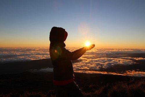 sun  dawn  volcano