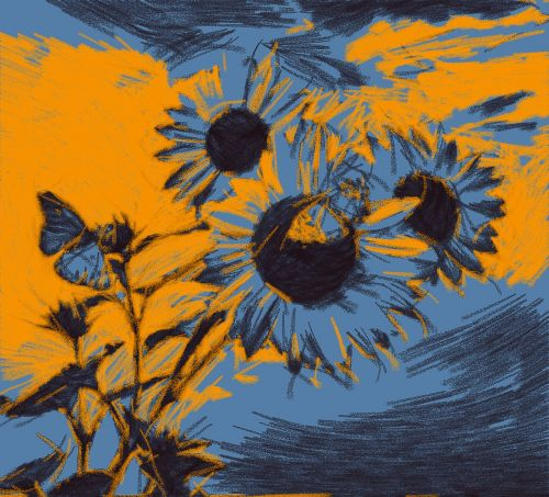 sun flower summer painting