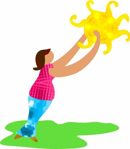 žmonės, gyvenimas, gyvenimo būdas, iliustracija, animacinis filmas, asmuo, Moteris, moteris, Lady, pasiekti, koncepcija, saulė, oras, saulės lady