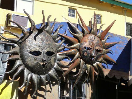 sun sculpture metal work copper