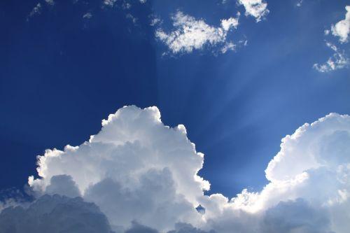 sunbeams blue sky