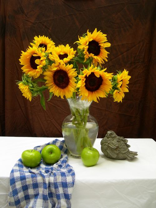 sunflowers apples still life