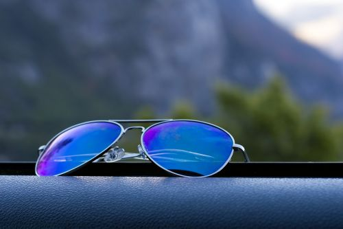 sunglasses outdoors blue