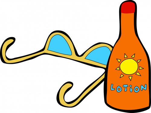 Sunglasses And Lotion Clipart