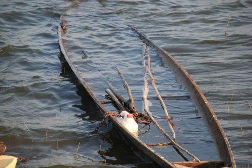 sunken boat lake