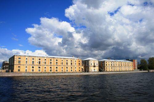 Sunlit Buildings On The River Neva