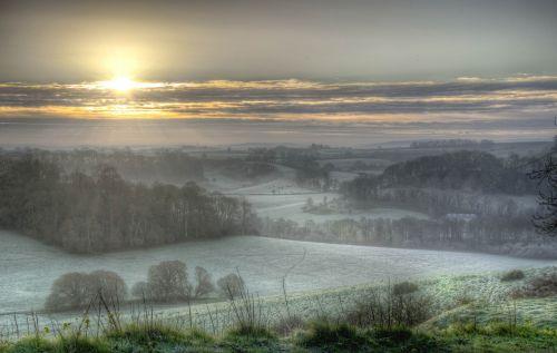 sunrise frosty morning