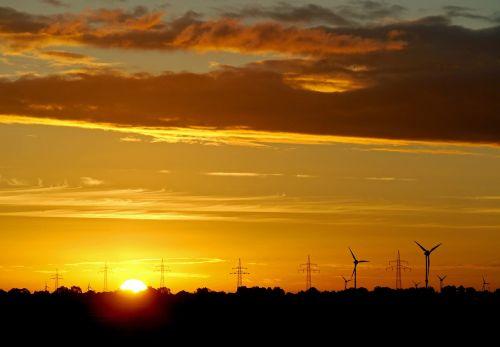 sunrise east frisia windräder