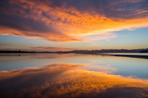 sunrise yellowstone lake sky