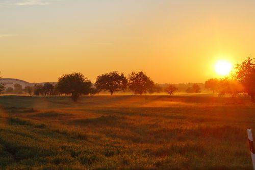 sunrise autumn fog