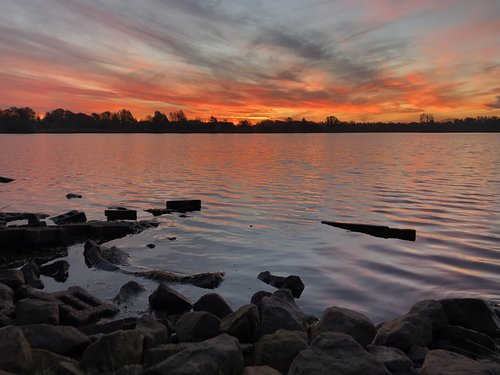 sunrise  east frisia  lake