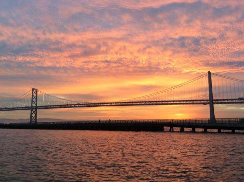 San & nbsp, francisco, saulėtekis, tiltas, rytas, saulėtekis per užtvankos tiltą
