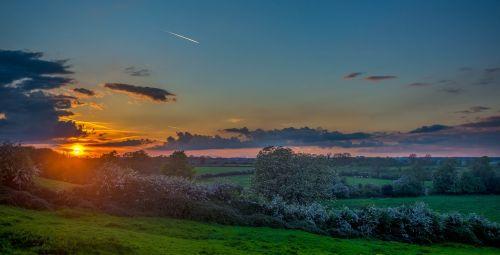 sunset sunrise field