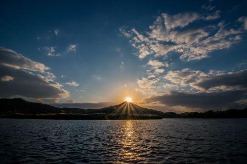 sunset mountain lake