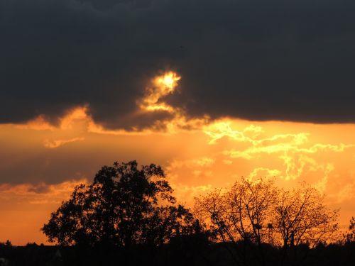sunset evening dark clouds
