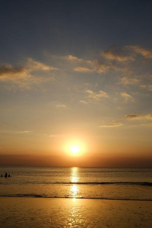 sunset ocean beach