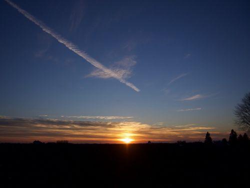 sunset contrail orange