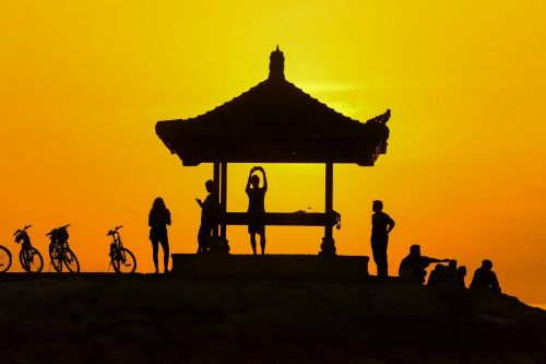 sunset people silhouette