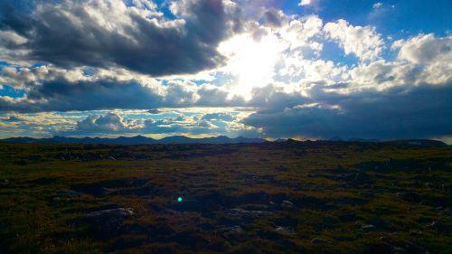sunset landscape cloud break