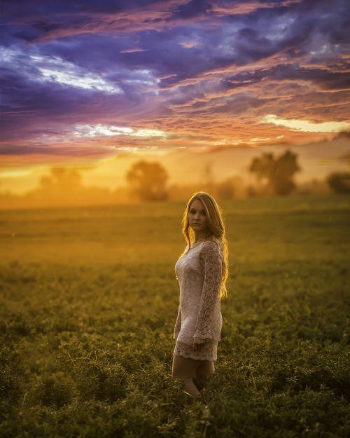 sunset model beautiful
