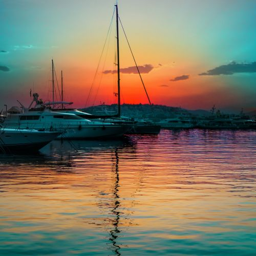 sunset,marina,travel,sky,athens,mediterranean