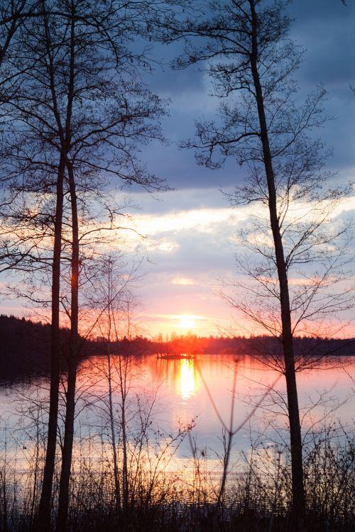 sunset nature finland