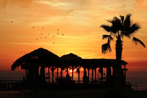 sunset beach red