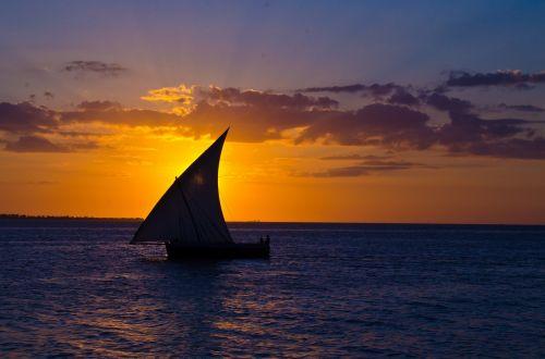 sunset boat sail