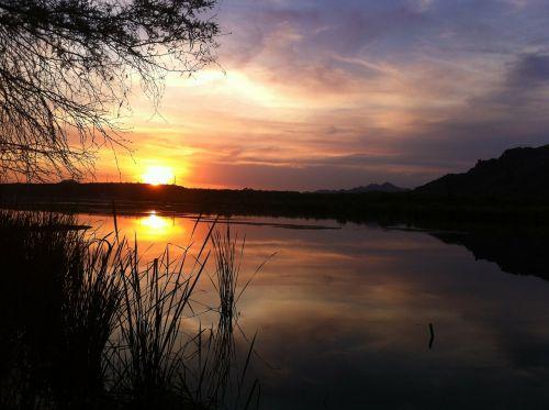 sunset water lake