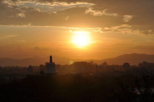 sunset jing shan beijing