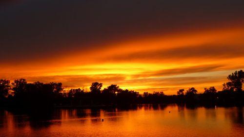 sunset nature contrails