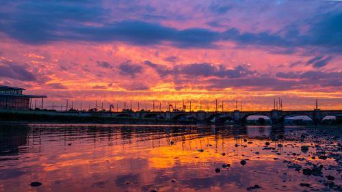 sunset sky water