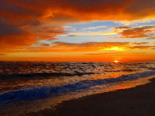 sunset beach beautiful