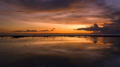 sunset beach dawn