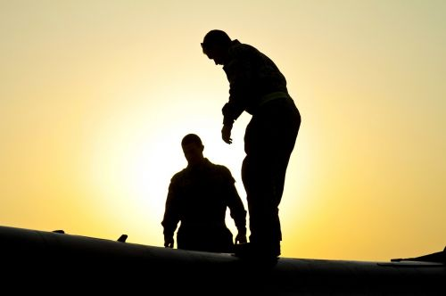 sunset silhouettes military