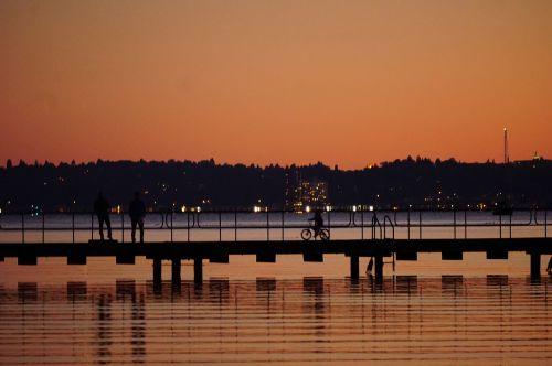 sunset lake bridge