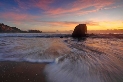 sunset seascape water motion