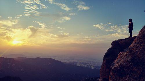sunset mountain people