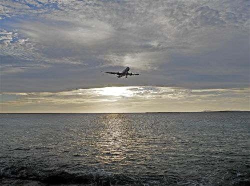 sunset plane heaven