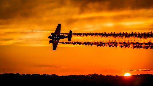 sunset airplane aircraft