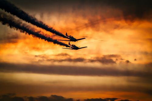 sunset airplanes aircraft