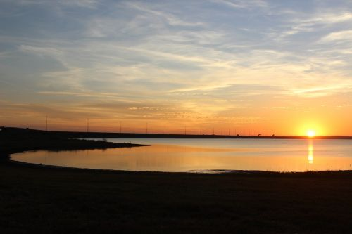 sunset nature river