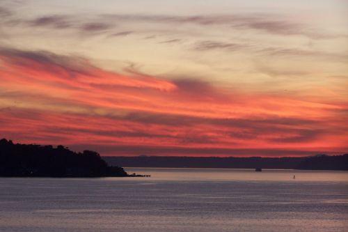 sunset elliott bay puget sound
