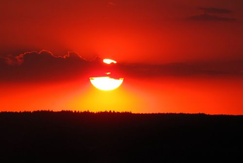 sunset evening red orange sky