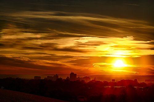 sunset sun sky