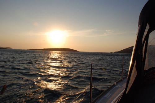 sunset sea afterglow