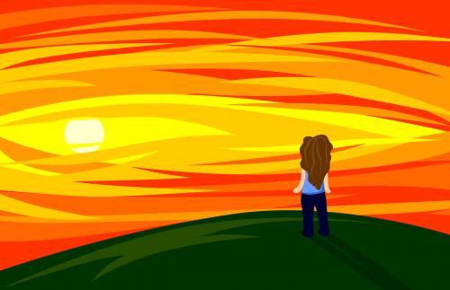 sunset girl loneliness