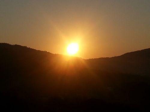 sunset mountain afterglow