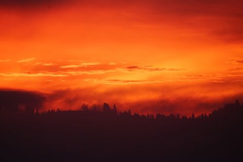 sunset fog abendstimmung