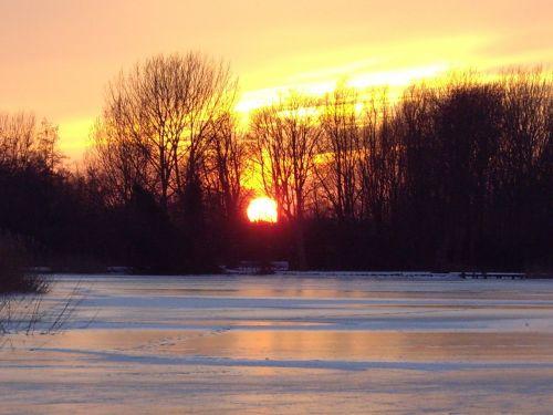 sunset landscape natural ice pastime